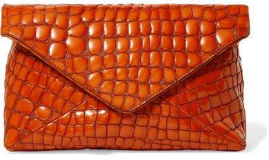 Croc-effect Patent-leather Clutch - Orange