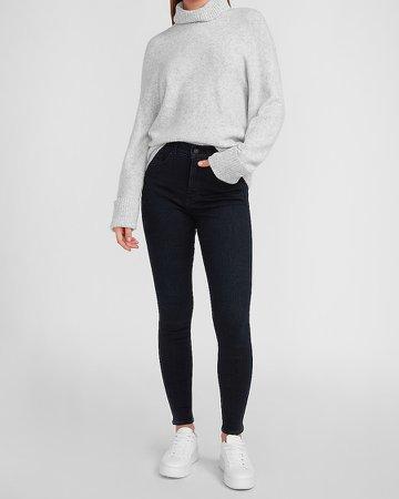 High Waisted Metallic Dark Wash Skinny Jeans