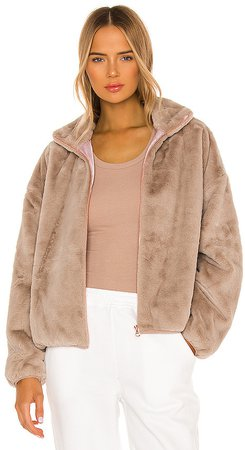 Indy Faux Rabbit Zip Up Jacket