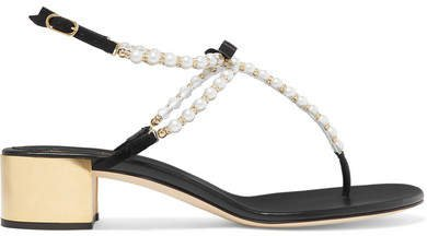 Elizana Faux Pearl-embellished Suede Sandals - Black