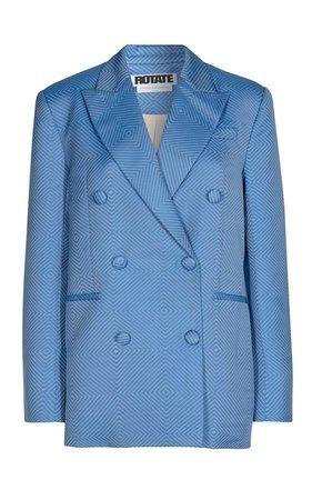 Fox Jacquard Double-Breasted Blazer by ROTATE   Moda Operandi