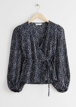Puff Sleeve Wrap Blouse - Black Print - Wrap Tops - & Other Stories