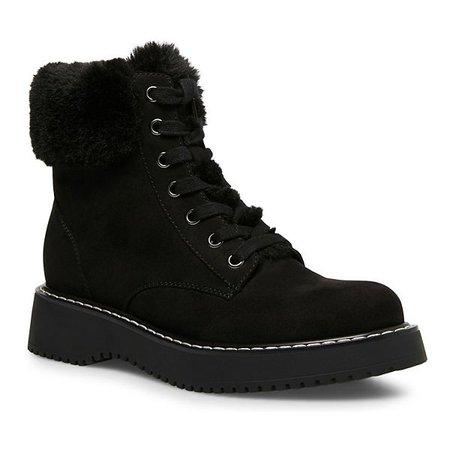 faux fur black Ankle Boots