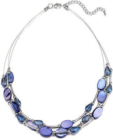 Pearl&Club Crystal Layered Statement Necklace for Women - Choker Necklace with Chunky Silver Chain, Birthday Gifts for Women (12-Blue): Jewelry