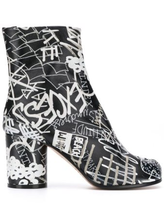 Maison Margiela Graphic Print 80mm Tabi Ankle Boots - Farfetch