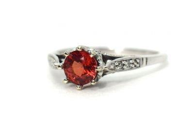 Vintage Orange Sapphire and Diamond Ring