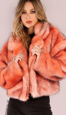 coral faux fur coat - Google Search