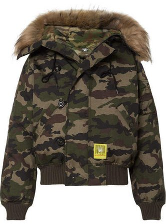 Brumal - Hooded Faux Fur-trimmed Camouflage-print Shell Down Jacket - Army green