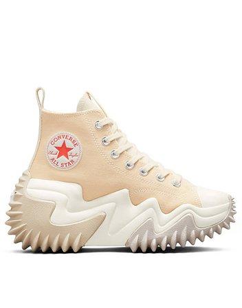 Converse Run Star Motion Hi canvas platform sneakers in light twine | ASOS