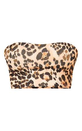 Brown Leopard Print Slinky Bandeau Crop Top | PrettyLittleThing USA