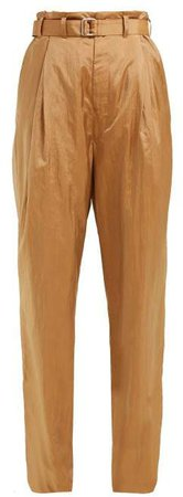 Wide Leg Belted Trousers - Womens - Light Brown