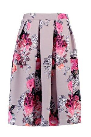 Plus Floral Print Scuba Midi Skirt | Boohoo