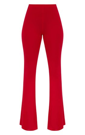 Petite Red Basic Flare Leg Pants. Petite | PrettyLittleThing USA