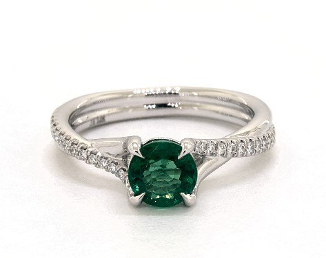 Green Emerald Round Cut 0.80 Carat Pave Engagement Ring in 14K White Gold - 1918518
