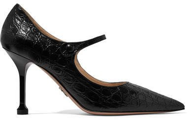 90 Croc-effect Leather Mary Jane Pumps - Black