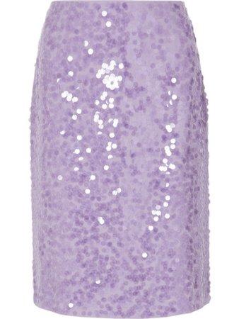 Dries van Noten Lilac Purple Sequin Crêpe Skirt