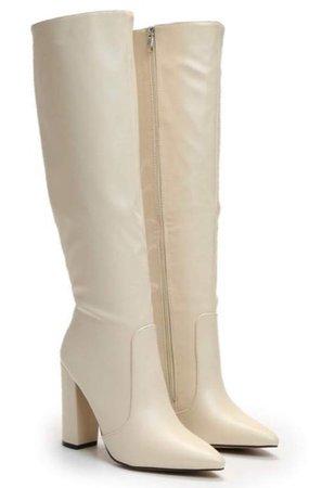 cream knee high boots