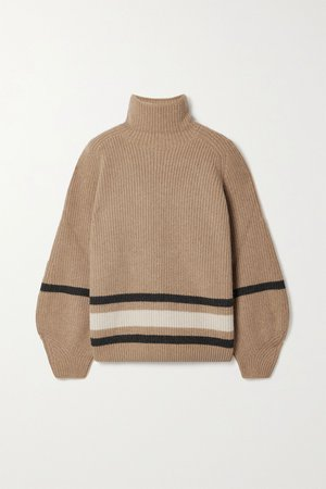 Camel Oversized striped cashmere turtleneck sweater   Loro Piana   NET-A-PORTER