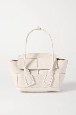 Arco Mini Intrecciato Textured-leather Tote - White