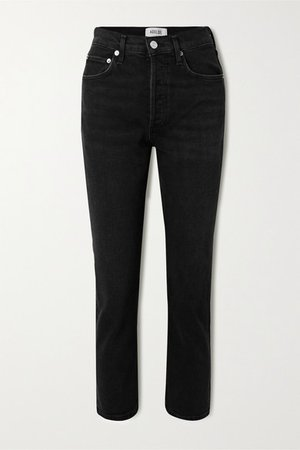 Riley High-rise Straight-leg Jeans - Black