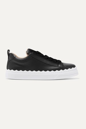 Lauren Scalloped Leather Sneakers - Black