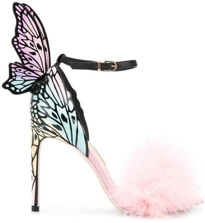 butterfly feather embellished sandals