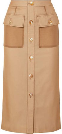 REJINA PYO - Lily Button-detailed Cotton And Linen-blend And Chiffon Midi Skirt