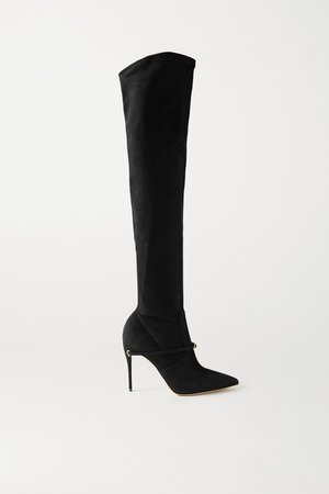 Alessandro 105 Suede Over-the-knee Boots - Black