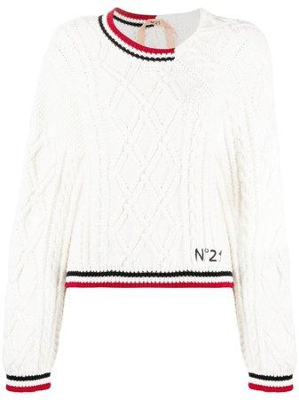 Nº21 cable-knit Asymmetric Jumper - Farfetch