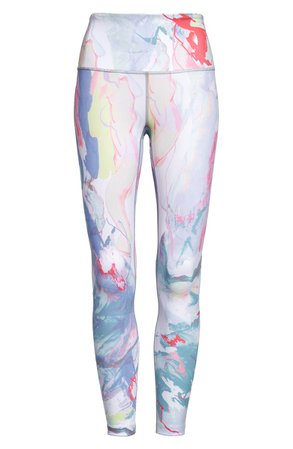 Zella Studio Lite High Waist Print 7/8 Leggings  purple
