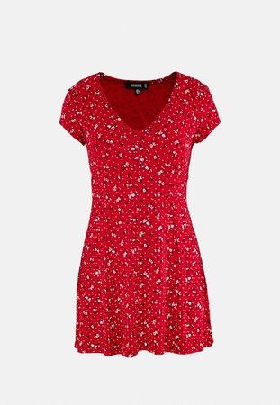 Red Ditsy Floral Print Skater Dress | Missguided