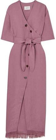 Nanushka - Belted Frayed Satin-twill Midi Dress - Purple