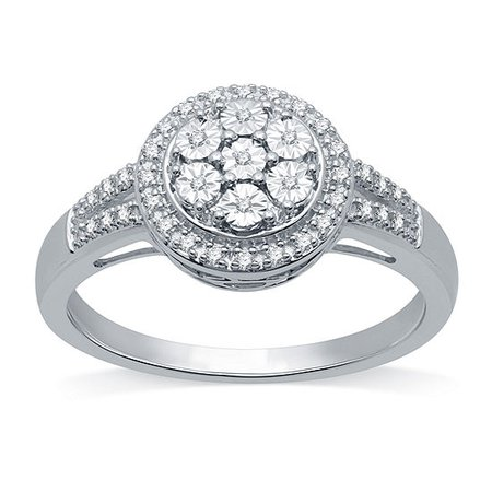 LIMITED TIME SPECIAL! 1/10 CT. T.W. Genuine Diamond Cluster Cocktail Ring in Sterling Silver - JCPenney