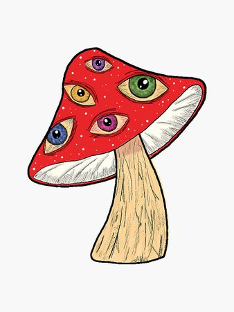 """Red Mushroom with Eyes"" Sticker by samanthafuchss   Redbubble"