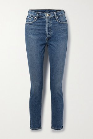 High-rise Slim-leg Jeans - Mid denim