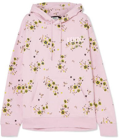 Oversized Floral-print Cotton-jersey Hoodie - Pastel pink