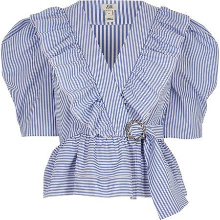 Blue stripe frill front poplin blouse   River Island