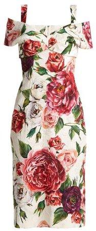 Brocade Peony And Rose Print Dress - Womens - White Multi