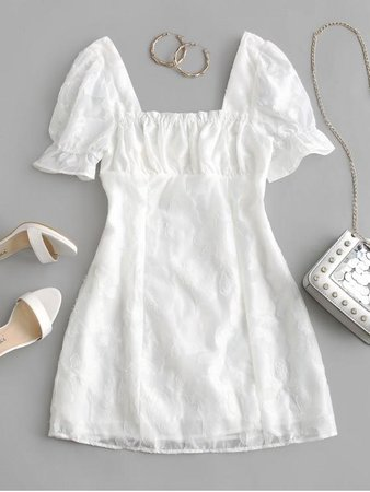 Floral Mini Milkmaid Dress In WHITE