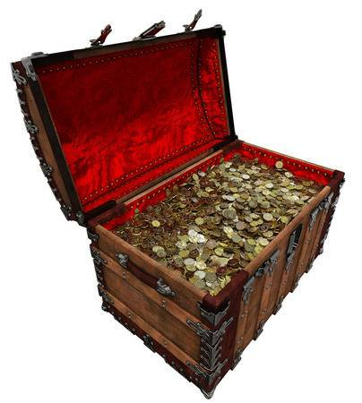 Shiny Gold Pirate Treasure Rich Chest 3D Illustration Stock Photo, Picture And Royalty Free Image. Image 98437780.