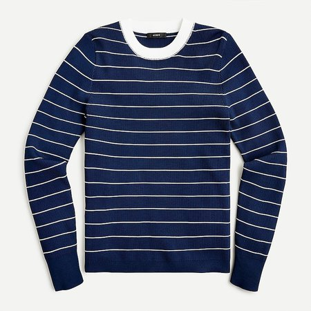 J.Crew: Ribbed Crewneck Sweater In Striped For Women