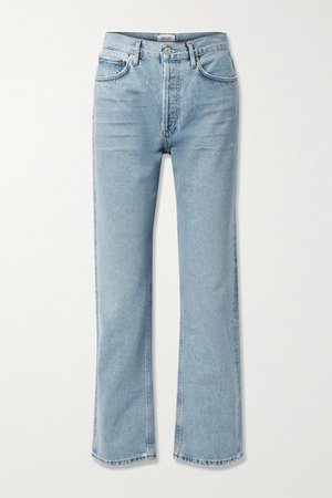 Lana Distressed Organic Mid-rise Straight-leg Jeans - Light denim