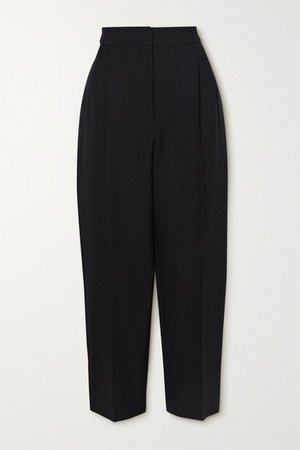 Cropped Wool-blend Tapered Pants - Black