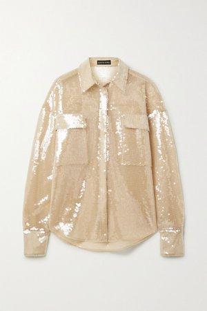 Sand Oversized sequined tulle shirt | David Koma | NET-A-PORTER