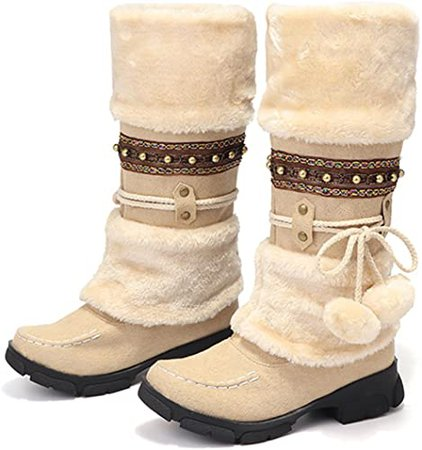 Amazon.com | gracosy Mid Calf Winter Boots, Rhinestone Slip On Mid Calf Warm Knight Boots Beige 5 M US | Mid-Calf