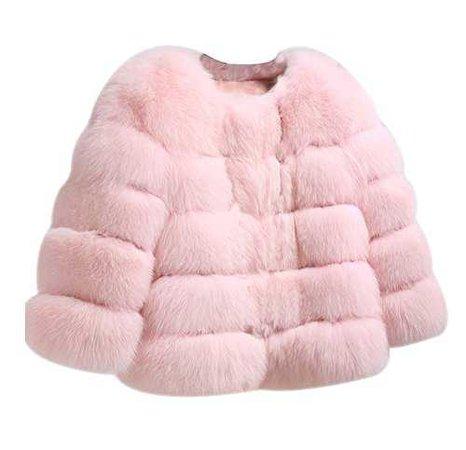 Pastel Pink Faux-Fur Coat
