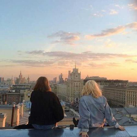 sunset rooftop friends