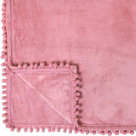 Amazon.com: PAVILIA Fleece Throw Blanket with Pom Pom Fringe | Blush Pink Flannel Throw | Super Soft Lightweight Microfiber Polyester | Plush, Fuzzy, Cozy, Blossom Pink | 60 x 80 Inches: Home & Kitchen