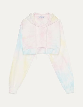 Cropped tie-dye sweatshirt - New - Bershka United States