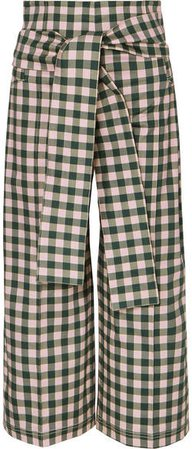 Silvia Tcherassi - Salve Cropped Gingham Cotton-blend Wide-leg Pants - Green
